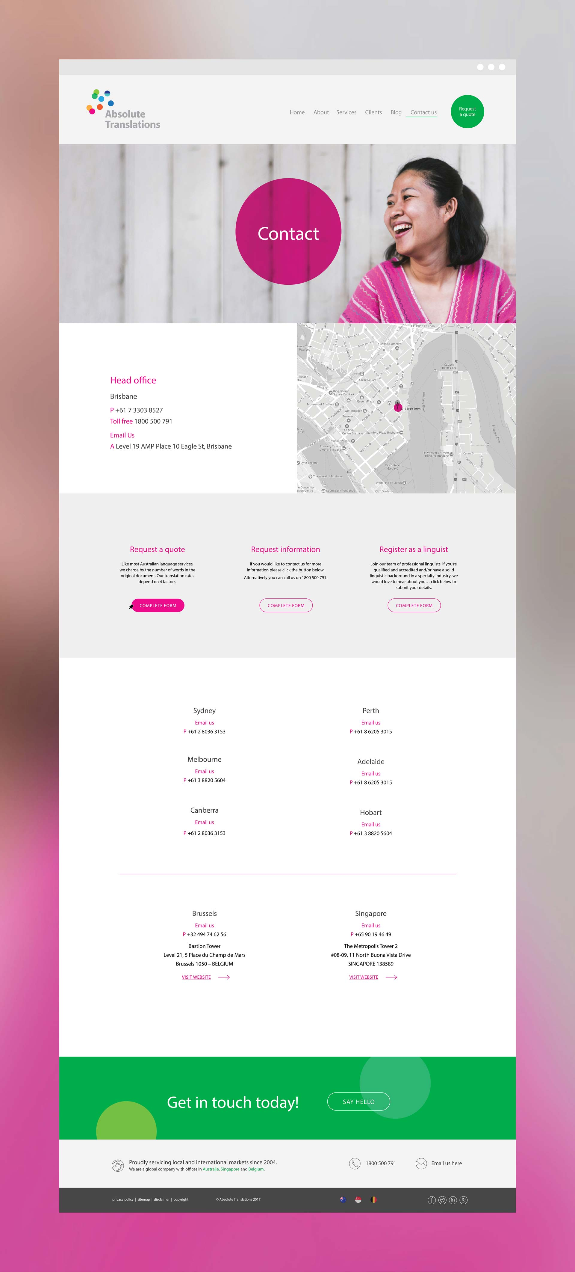 Absolute Tranlsations Logo Design Website Interface