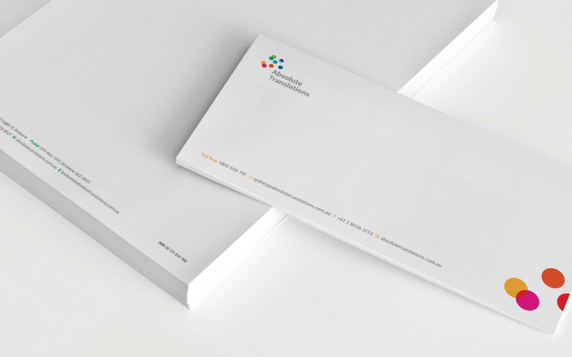 Absolute Tranlsations Logo Design With Compliements Letterhead