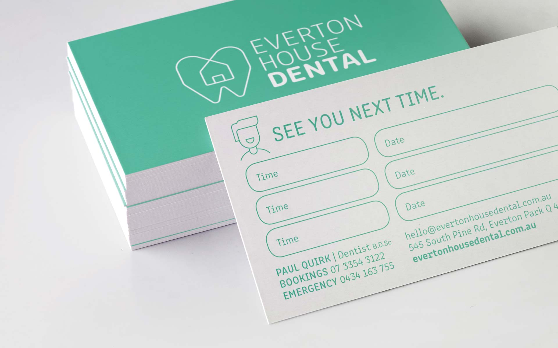 Everton House Dental Web Design Appointment Card