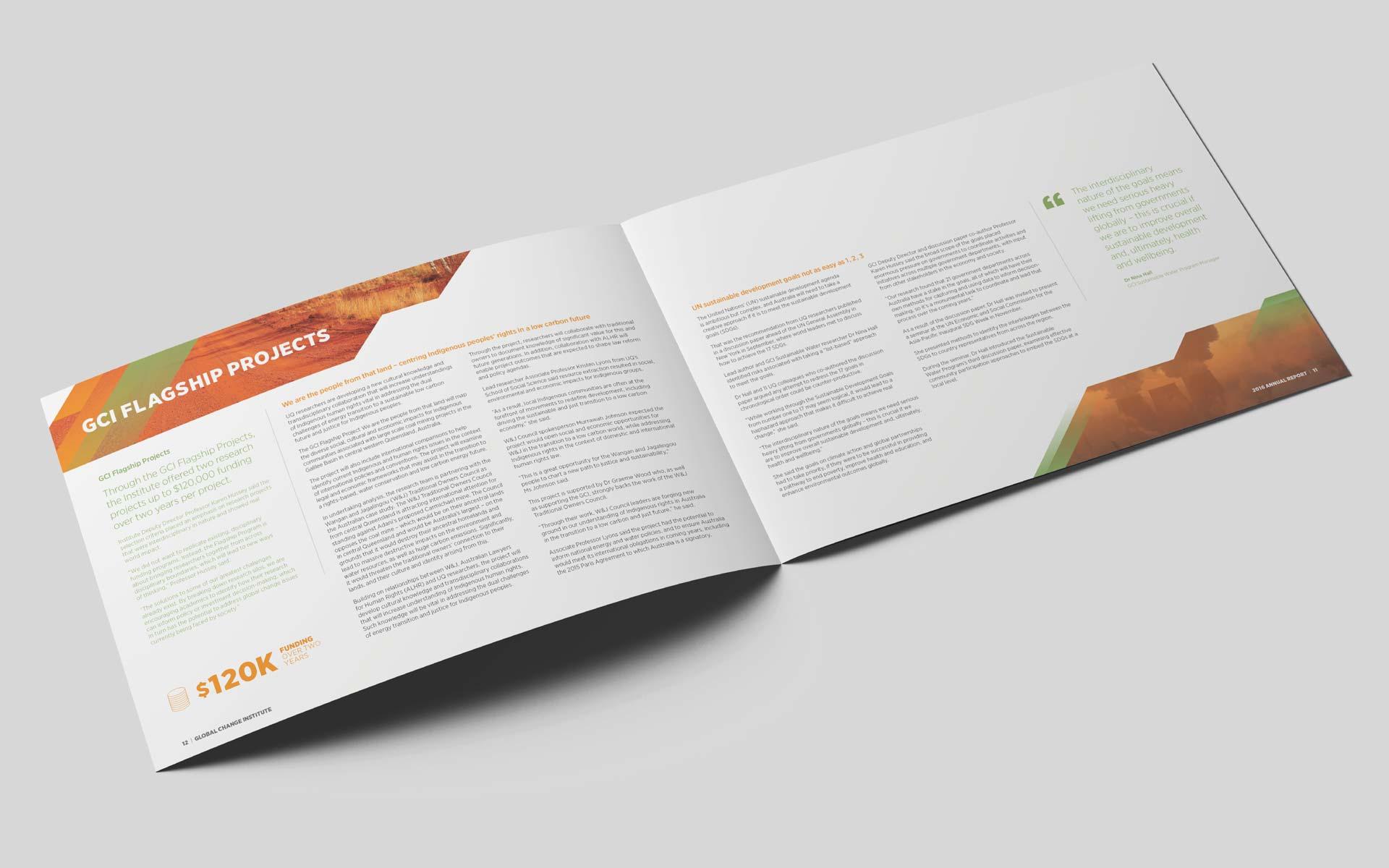 Global Change Institute Interior Branding Design Annual Report Design Interior Branding