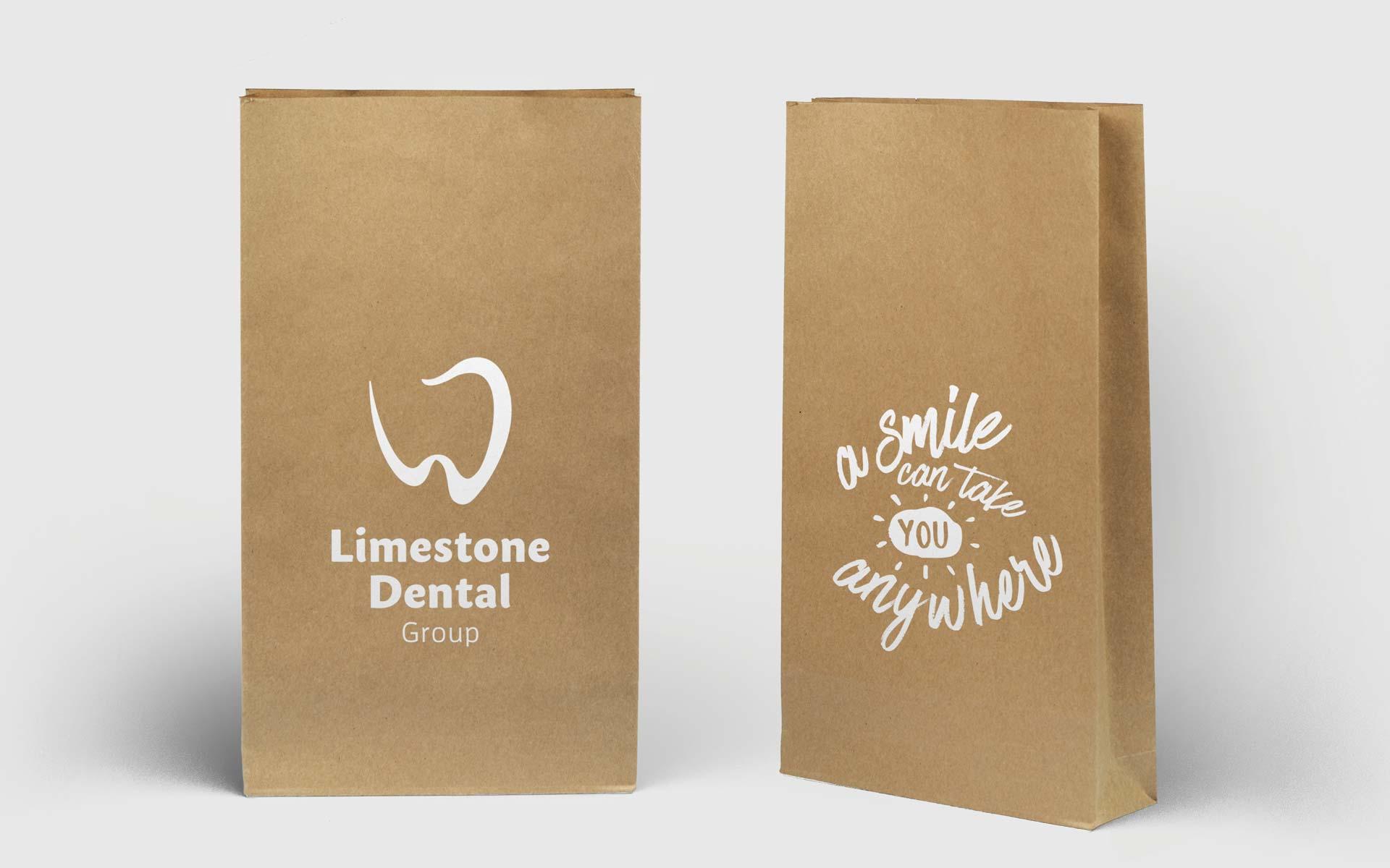 Limestone Dental Group Stationery Design Paper Bag Design