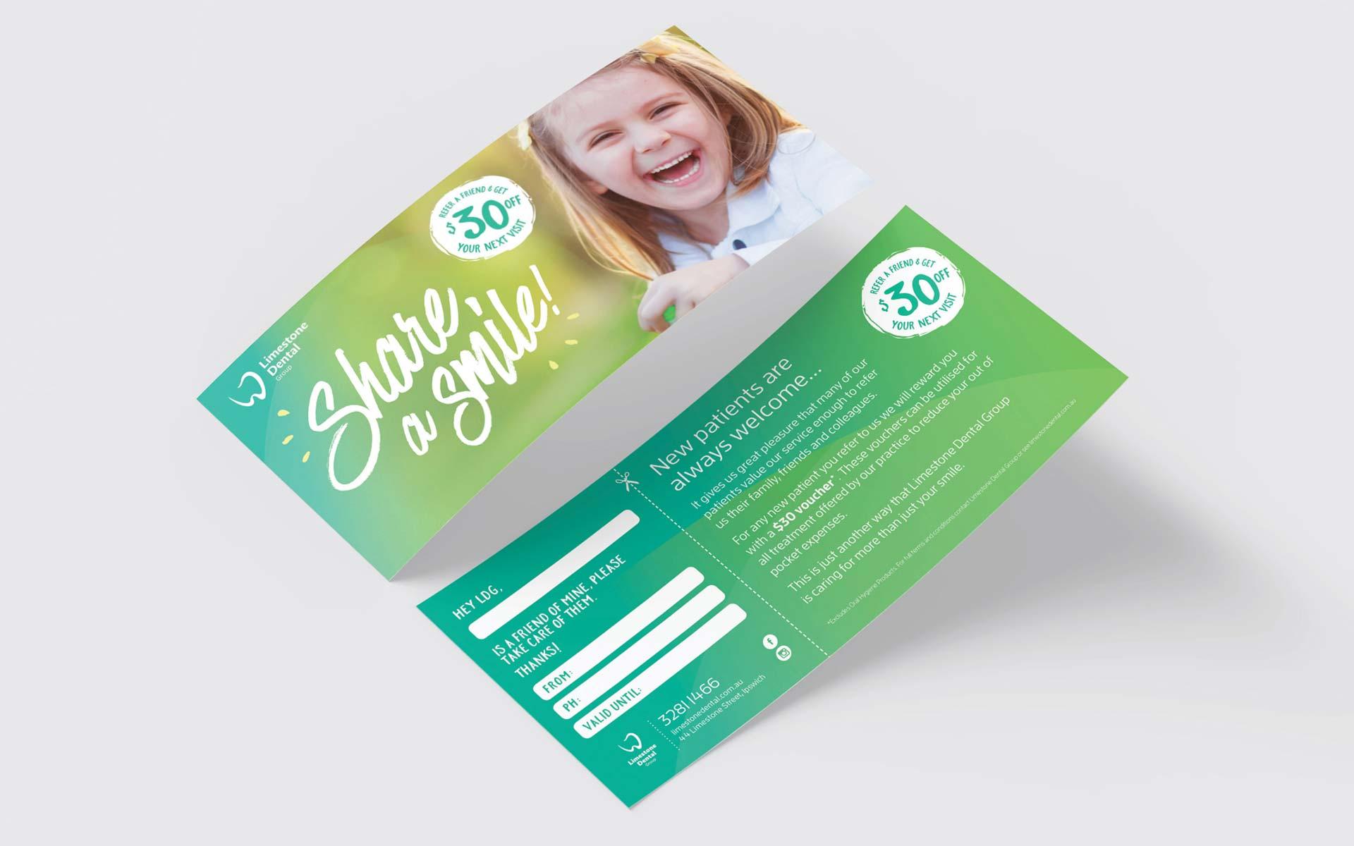 Limestone Dental Group Stationery Design Refer a Friend Flyer