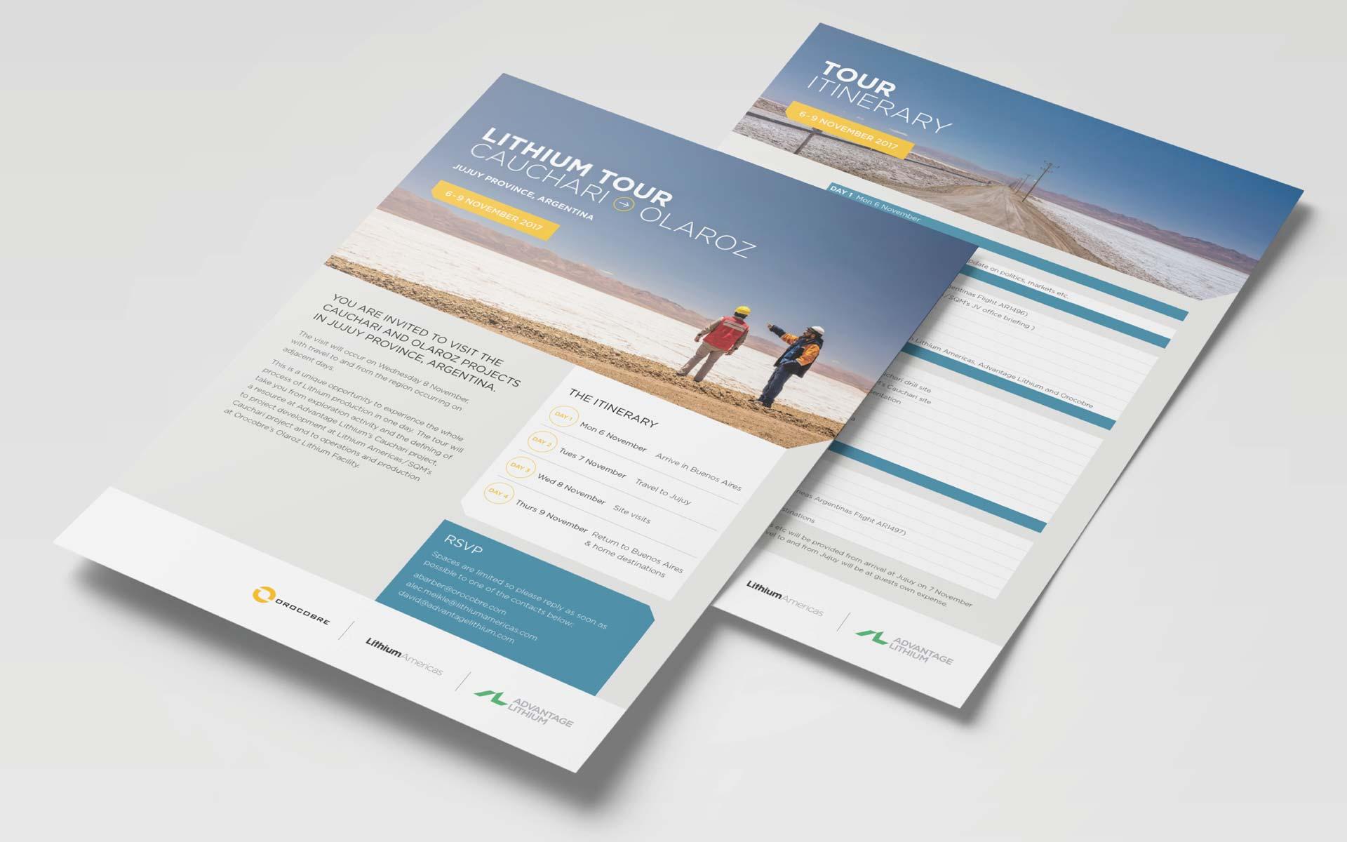 Orocobre Corporate Design Itinerary Flyer
